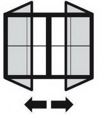 Vitrína, dvoukřídlé otevírání